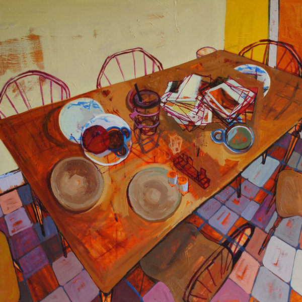 Pieces on the Table, 36 x 48 in, Oil on Canvas, 2016